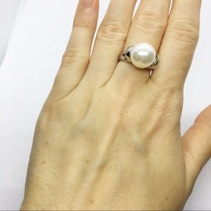 Sterling Silver 926 Faux Pearl Cocktail Ring 6
